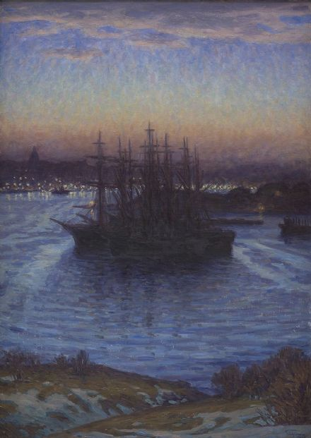 Prince Eugen, Duke of Närke: Ships at Anchor, Winter. Fine Art Print.  (0059)